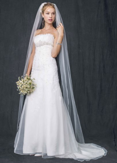 Organza Trumpet Gown with Embellished Lace WG3121