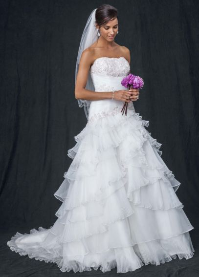Pleated Wedding Dress with Tiers and Lace-Up Back  WG3453
