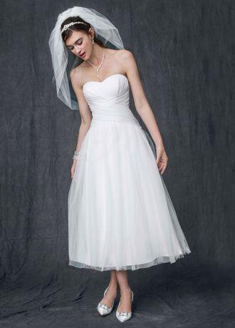 Strapless Tulle Tea Length Wedding Gown - Davids Bridal