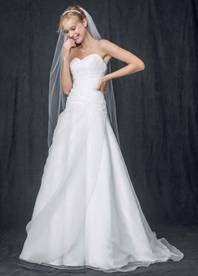 Strapless A Line Organza Gown with Ruched Bodice WG3644