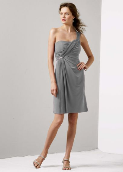 One Shoulder Jersey Dress with Pleated Cascade F14816