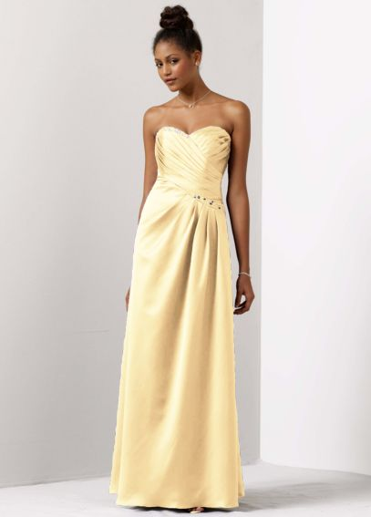 Satin A-Line Draped Gown with Beaded Neckline F14853