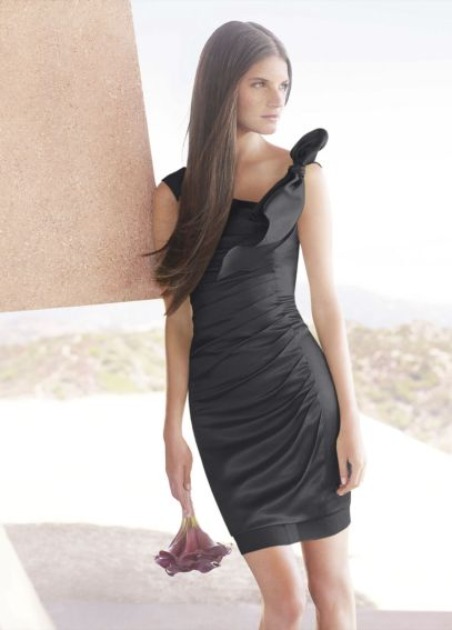 Hammered Satin Side-Draped Dress with Bow Detail VW360050