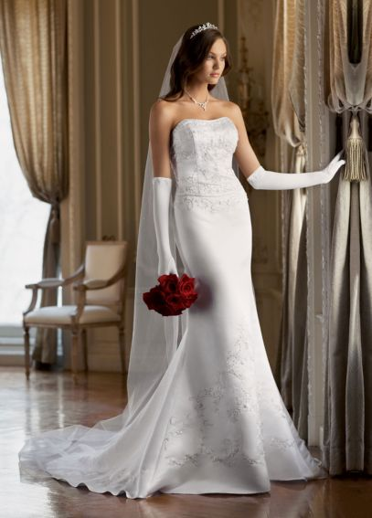 Satin Trumpet Gown with Beaded Embroidery  T9267