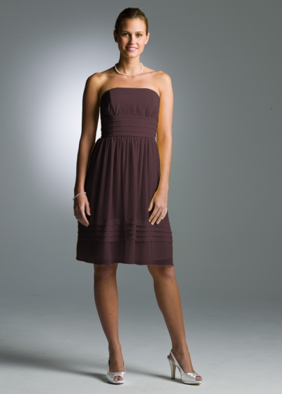 Short Strapless Pleated Dress in Crinkle Chiffon  83362