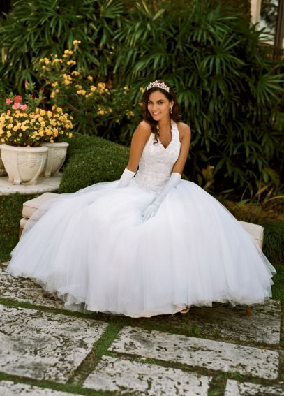 Tulle Ballgown with Satin Beaded Halter Bodice AI10011487