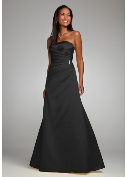 Satin Strapless Gown with Side-Drape and Brooch F44079