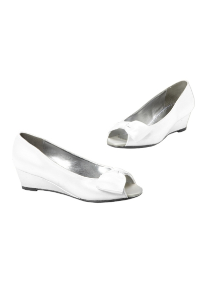 White (Dyeable Satin Flower Girl Peep Toe Wedge with Bow)