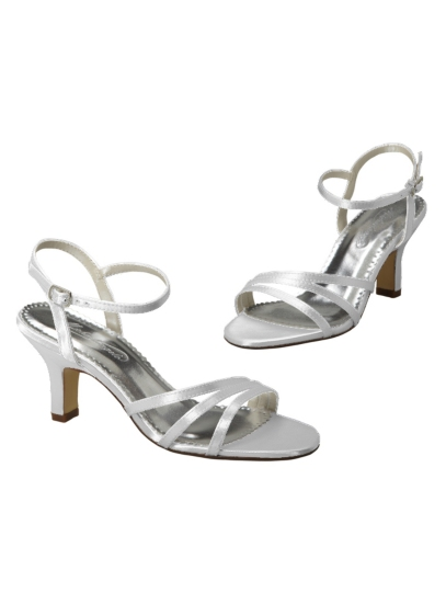 White (Dyeable Satin Sandal with Asymmetrical Straps)
