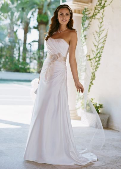 Charmeuse Side-Drape Gown with Sash WG3026