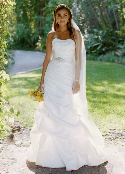 Taffeta Fit and Flare Gown with Pick-Ups and Sash WG3029