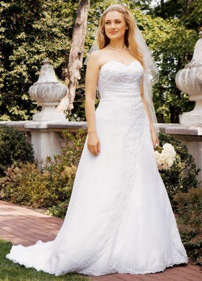 Beaded Lace Side Drape with Satin Split Front AI13020318