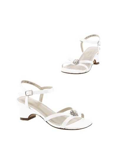 David's Bridal White (Flower Girl Dyeable Sandal with Pearl Ornament.)