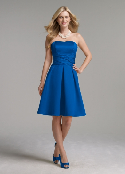Short Strapless Satin Dress with Waist Detail 83899