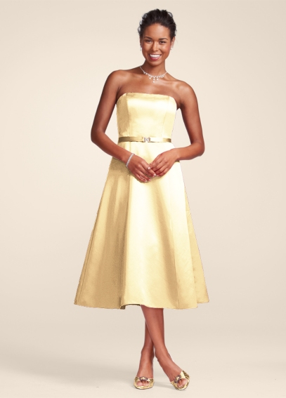 Satin Strapless Tea-Length Dress 8355