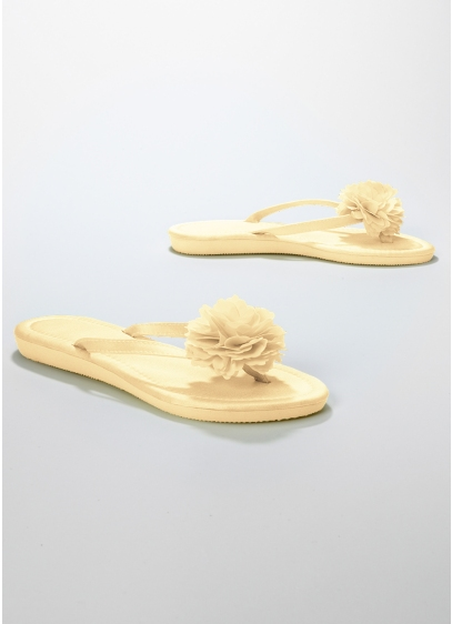 Bridal Satin Flip Flop with Flower - Wedding Accessories