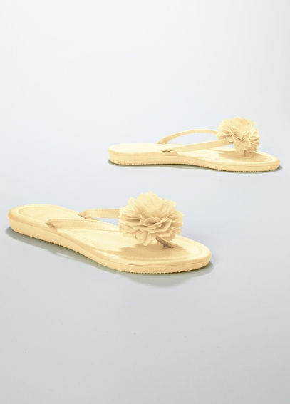 Bridal Satin Flip Flop with Flower CARNATION