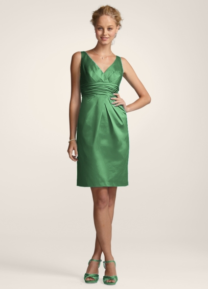 V-Neck Cotton Sateen Dress with Pleats and Ruching F14259