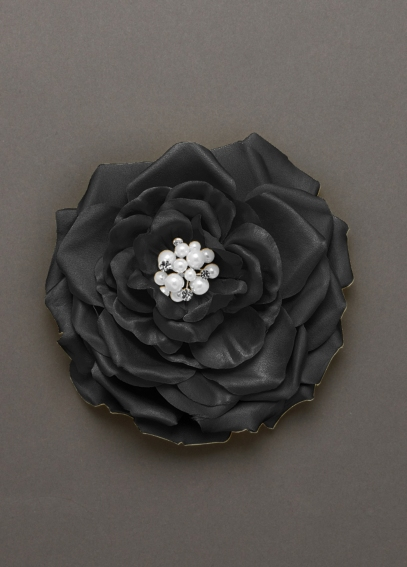 Fabric Flower Clip with Pearl and Crystal Center F7973