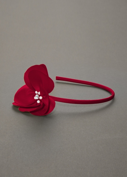 Fabric Flower Headband with Jewel Center H8021