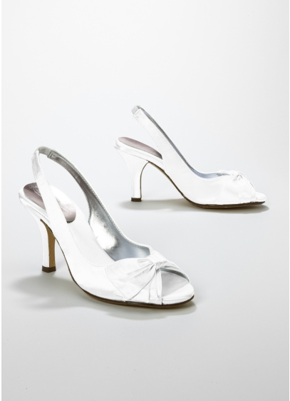 White (Dyeable Satin Peep Toe Slingback with Bow)