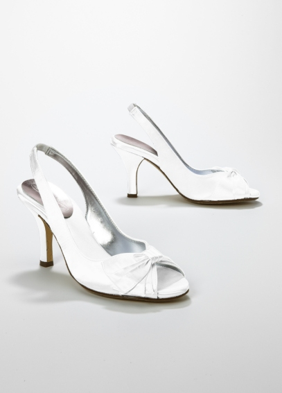 Dyeable Satin Peep Toe Slingback with Bow JEM