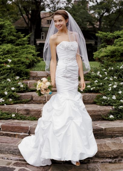Petite Taffeta Gown with Beaded Appliques Pick Ups 7WG3071