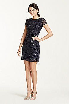 Short Sleeved Allover Beaded Sequin Dress 041900220
