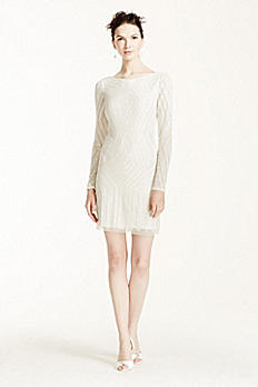 Deco Embellished Long Sleeve Short Dress 054459360