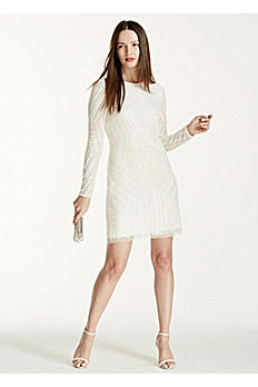 Deco Embellished Long Sleeve Short Dress 054459360