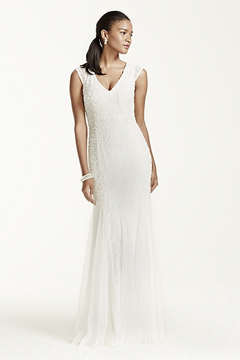 Cap Sleeve Beaded Sheath Gown with Godets 054464250