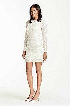 All Over Sequin Long Sleeve V-Back Short Dress 054464270