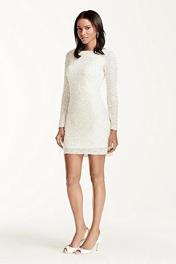 All Over Sequin Long Sleeve V-Back Short Dress 054464270