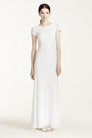 Cap Sleeve Long Beaded Sequin Dress - Davids Bridal