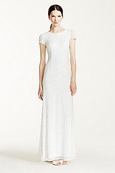 Cap Sleeve Long Beaded Sequin Dress 061896890