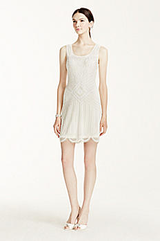 Beaded Short Tank Dress with Scallop Hem 061901390
