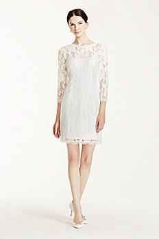 Illusion 3/4 Sleeve V-Back Short Lace Dress 061901470