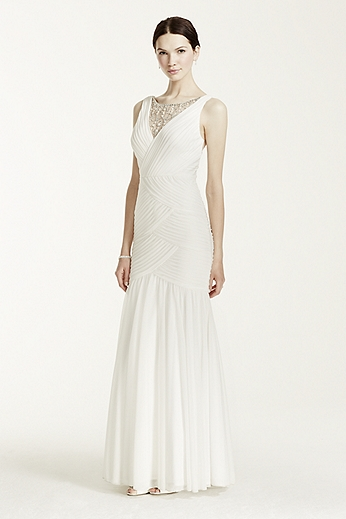Sheath Gown with Crystal Beaded Illusion Neckline 061901630