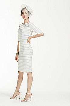 3/4 Sleeve Illusion Band Horizontal Striped Dress 061901650