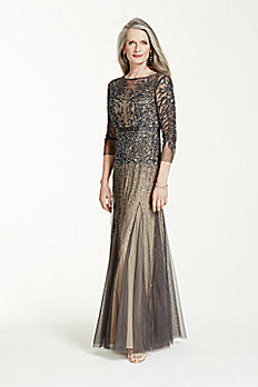 3/4 Sleeve Long Beaded Gown with Ribbon Waist 061904330
