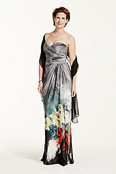 Strapless Printed Dress with Draped Bodice 061907680