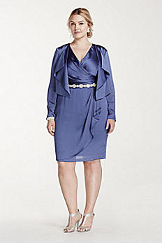 Short Satin Jacket Dress 061909331