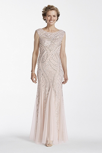 Cap Sleeve Long Beaded Gown with Godets 061910460