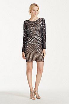 Illusion Long Sleeve Beaded Sheath Dress 061917330