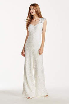 Long Jumpsuit Beach Wedding Dress - DB Studio