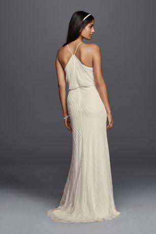 Halter Sheath Casual Wedding Dress With Beading David S