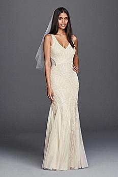 Beaded Illusion Sheath Casual Wedding Dress 061918980