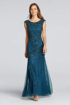 long mermaid trumpet cap sleeves prom dress adrianna papell