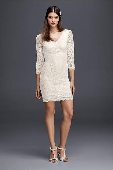 Short ivory lace dress with 3/4 sleeves