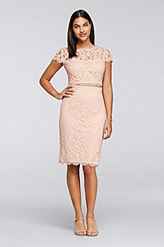Two-Piece Lace Dress with Short Sleeves 061930180
